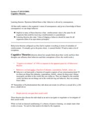 PSYC 3460 Lecture Notes - Lecture 7: Behaviorism, Equivalence Principle, Death Drive