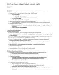 PSYC 370 Chapter Notes -Gordon Allport, Hans Eysenck, Trait Theory
