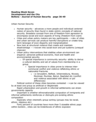 GEOG 3050 Chapter Notes -Human Security, Cultural Conflict, Environmental Security