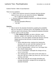 Psychology 2115A/B Lecture Notes - Lecture 2: Absolute Threshold, Psychophysics, Perseveration