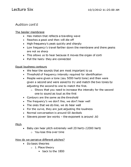 Psychology 2115A/B Lecture Notes - Lecture 6: Basilar Membrane, White Noise, 1000 Fires