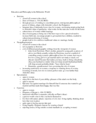 CLAS 2051 Lecture Notes - Perictione, Neopythagoreanism, Epicureanism