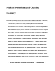 POLI 1100 Lecture Notes - Michael Oakeshott, Radical Feminism, On Being