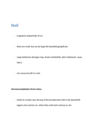 GEOL 2207 Lecture Notes - Hail, Vertical Draft, Thunderstorm