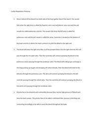 BIOL 1115 Lecture Notes - Thoracic Cavity, Inferior Vena Cava, Superior Vena Cava