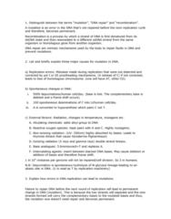 BIOL308 Study Guide - Dna Mismatch Repair, Pyrimidine Dimer, Xeroderma Pigmentosum