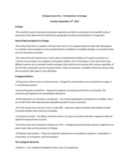 Biology 2483A Lecture Notes - Nutrient Cycle, Organism, Tenuis Consonant