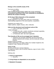 BIOL 105 Lecture Notes - Eukaryote, Archaea, Homeostasis