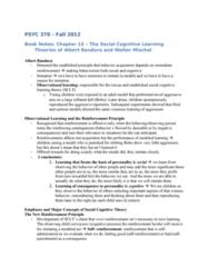 PSYC 370 Chapter Notes - Chapter 15: Social Cognitive Theory, Albert Bandura, Bandura