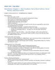 PSYC 370 Chapter Notes - Chapter 7: Harry Stack Sullivan, Karen Horney, Enoch Pratt
