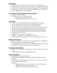 SOSC 111 Lecture Notes - Talcott Parsons, Sluggish Schizophrenia, Sick Role