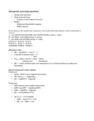 ENCH 213 Lecture Notes - Ph, Quadratic Equation, Equilibrium Constant