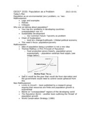 GEOG 3020 Lecture Notes - Our Common Future, The Population Bomb, International Political Economy
