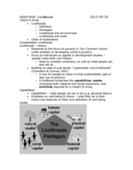 GEOG 3020 Lecture Notes - Land Tenure, Sust, Financial Capital