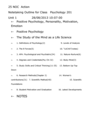 PSYC 201S Lecture Notes - Walter Mischel, Edward C. Tolman, Antisocial Personality Disorder