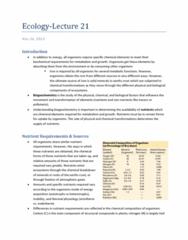 Biology 2483A Lecture Notes - Apatite, Arctic Vegetation, Niche Differentiation