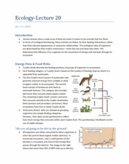 Biology 2483A Lecture Notes - Allochthon, Trophic Cascade, Food Quality