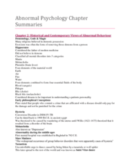 Abnormal Psychology (Psyc 3390) Chapter Summaries- Ch 1-18