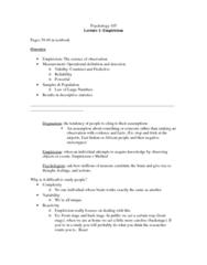 PSYCO105 Lecture Notes - Empiricism, Dogma