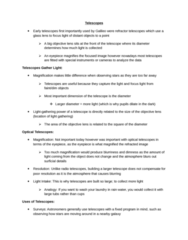 ASTR 101 Chapter Notes -Secondary Mirror, Consensus Cds Project, Chromatic Aberration