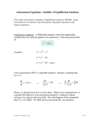 MATH 251 Lecture Notes - Mechanical Equilibrium, Logistic Function, Partial Derivative