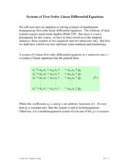 MATH 251 Lecture Notes - System Of Linear Equations, Row And Column Vectors, Coefficient Matrix