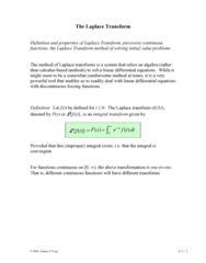 MATH 251 Lecture Notes - Algebraic Equation, Dirac Delta Function, Integral Transform