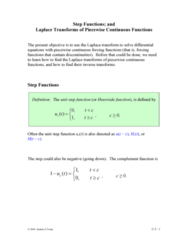 MATH 251 Lecture Notes - Step Function, Lu Su, Piecewise