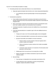 PSYC 357 Chapter Notes -Ego Psychology, Psychodynamics, Attachment In Adults