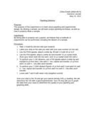 MCB 3020L Lecture Notes - Crystal Violet, Pipette, Gram Staining