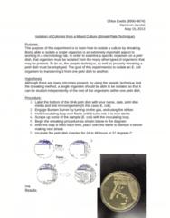 MCB 3020L Lecture Notes - Aureus, Subculture, Petri Dish