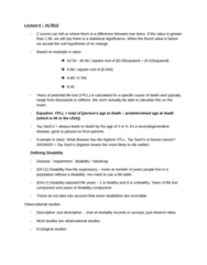 HLTB15H3 Lecture Notes - Lecture 6: Disability-Adjusted Life Year, General Idea, Life Table