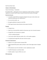 BIOL 1001 Study Guide - Final Guide: Plasmid, Dominance (Genetics), Dna Sequencing
