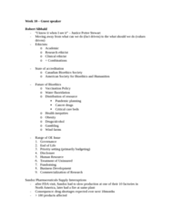 Health Sciences 3040A/B Lecture Notes - Robert Sibbald, Palliative Care, Water Fluoridation