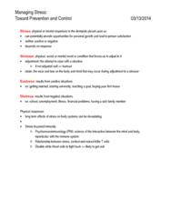BPK 140 Study Guide - Stressor, Hypothalamus