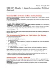 COM 107-Textbook-Ch. 1: Mass Communication: A Critical Approach