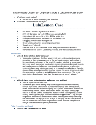 mgm102 lecture chapter 10 corporate culture lululemon case studydocx oneclass