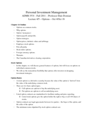 ADMS 3531 Lecture Notes - Chicago Board Options Exchange