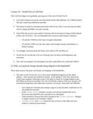HIST 106 Lecture Notes - Lecture 19: Tehran Conference, Arcadia Conference, West Germany
