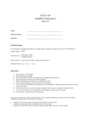 STAT 100 Study Guide - Gambling, Academic Dishonesty, Simple Random Sample