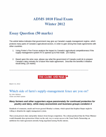ak adms 3530 03 finance final exam winter Corequisite: ak/adms 2320 300 or ak/adms 3320 300  midterm exam: the midterm exam  graded feedback worth at least 15% of the final grade for fall, winter or.