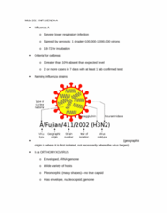 MICB 202 Lecture Notes - Rna-Dependent Rna Polymerase, Flu Season, Respiratory Tract Infection