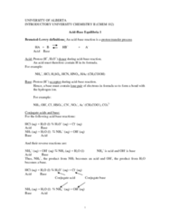 CHEM102 Lecture Notes - Acid Dissociation Constant, Conjugate Acid, Acid Strength
