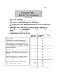 CHEM102 Study Guide - Final Guide: Nernst Equation, Galvanic Cell, Electrolytic Cell