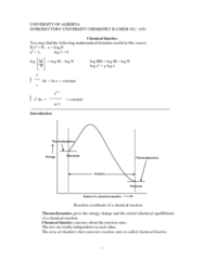 CHEM102 Lecture Notes - Rate Equation, Reaction Rate Constant, Chemical Kinetics