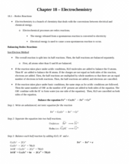 CHEM 1F92 Chapter Notes - Chapter 18: Electrochemistry, Electrical Energy, Chemical Equation