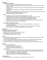 SOC341H5 Study Guide - Midterm Guide: Institutional Racism, White Privilege, Canadian Identity