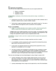 COMMERCE 3FA3 Chapter Notes -Proxy Fight, Tender Offer, Leveraged Buyout