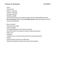 CD-0068 Lecture Notes - Puberty, Hypothalamus, Spermarche