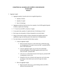 ECON 1010 Chapter Notes - Chapter 26: Real Wages, Aggregate Supply, Aggregate Demand